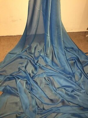 "5 Mtr Blue Cationic Two Tone Sheer Bridal Dress Chiffon Fabric...58"" Wide £12.50"