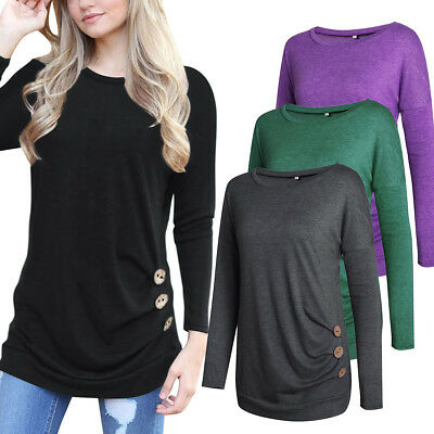 Womens Long Sleeve Loose Trim Button Decor Blouse Round Neck Tunic T-Shirt Tops
