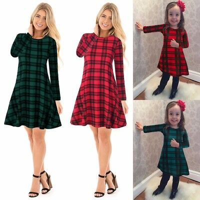 Mother And Daughter Kids Women Skater Dress Family Matching Plaid Mini Dresses