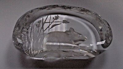 Mats Jonasson, Sweden Art Glass Paperweight Dormouse Harvest Mouse Signed