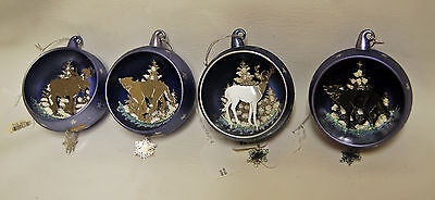 Lot of 4 ROMAN Wild Animal Deer Wolf Elk Cut Out Christmas Tree Ornaments
