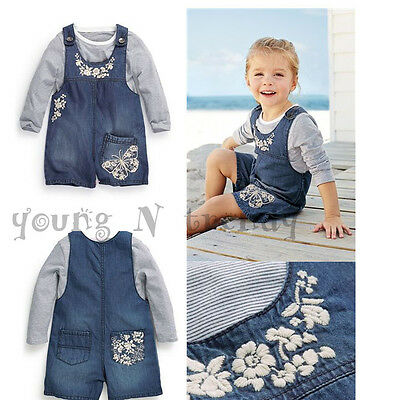 BNWT NEXT 2-3*4-5 years girls TOP*DENIM SHORTS DUNGAREES SET *BUTTERFLY*SEQUINS