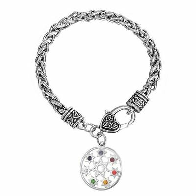 Casual Wear 7 Chakra Beads Decorated Divination Stone Charm Bracelet for Unisex