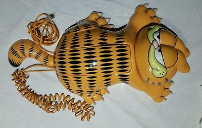 Vintage 1980's TYCO Garfield Cat Touch Tone Corded Telephone