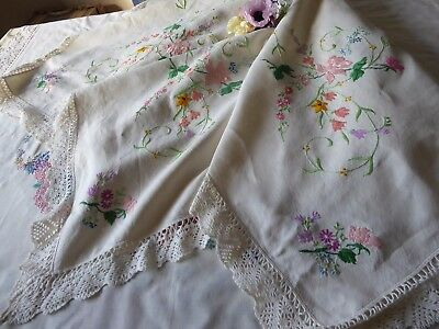 Vintage Hand Embroidered  Linen Tablecloth= Stunning Floral Raised Embroidery