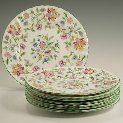 """Minton Haddon Hall 8 Fluted 8"""" Dessert / Salad Plates Made in England Firsts"""