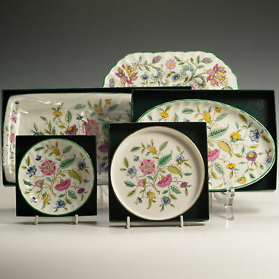 Minton Haddon Hall 5 Piece Afternoon Tea Serving Set Cake Plate Trays Dishes -A