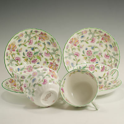 Minton Haddon Hall Four Fluted Tea Cups & Saucer Made in England Firsts 4 availa