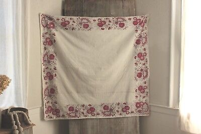 Antique French Fichu Neckerchief Toile de Jouy shawl 1700's pink block printed