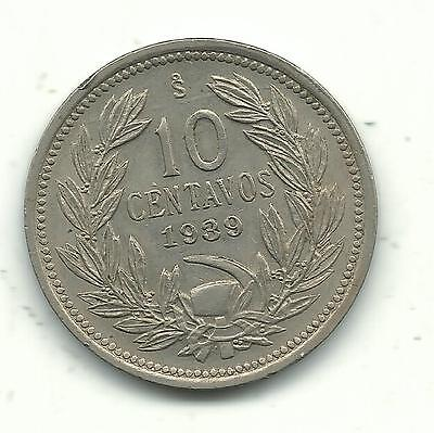 A Very Nicely Detailed High Grade Au + 1939 S Chile 10 Centavos Coin-Dec616