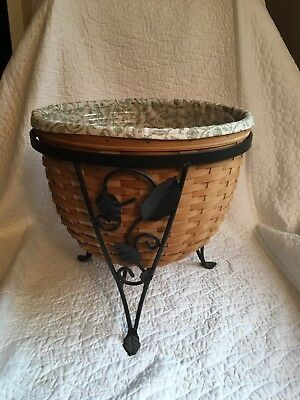LONGABERGER Ficus Plant Basket with Iron Stand and Liner Great Condition