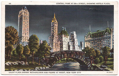AK US USA Post Card  Central Park Hotels Plaza at Night NEW YORK gel. 1936