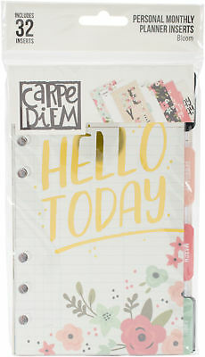 Pack 6, Carpe Diem Bloom Double-Sided Personal Planner Inserts-Monthly, Undated,