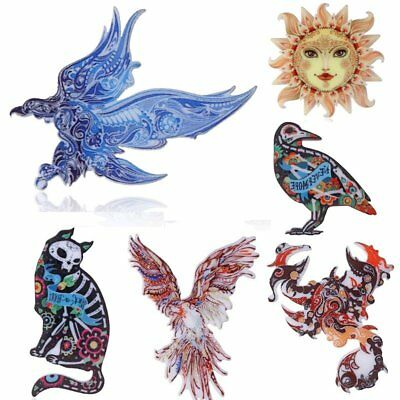 Women Custume Christmas Jewelry Printing Animal Eagle Cat Moon Sun Brooch Pin