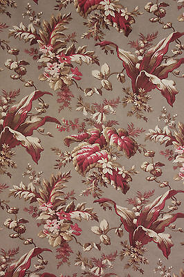 1880 ~ lovely panel Antique French material  TWO fabric ~ beautiful tones !