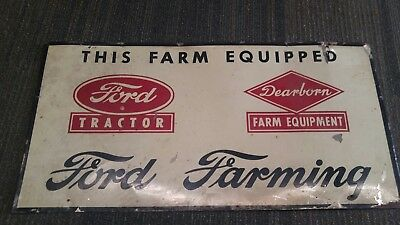 ORIGINAL 1950's Ford Tractor Dearborn Equipment Farm painted Metal Sign