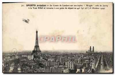 CPA Avion Aviation Le comte de Lambert sur son biplan Wright voie de Juvisy a la