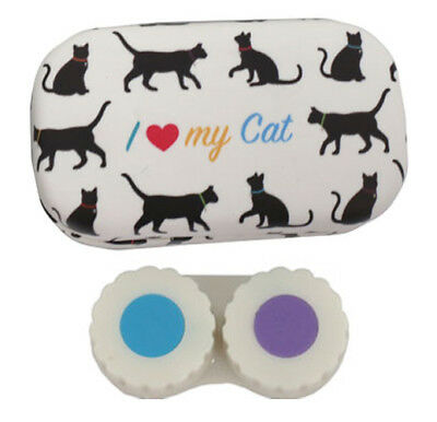 Puckator Contact Lens Lenses Handbag Travel & Storage Case Mirror I Love My Cat