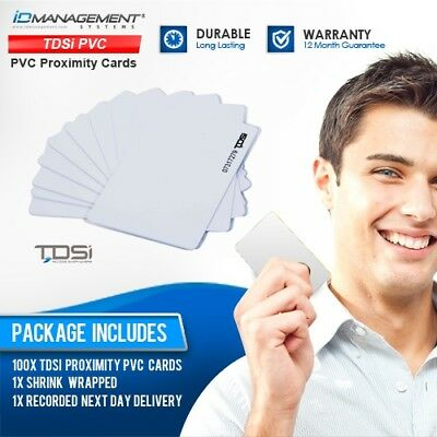 100 TDSi PVC Plain Proximity Cards • Free UK Delivery