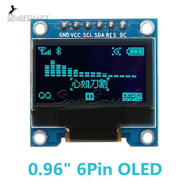 "Blue 0.96"" 6Pin 128×64 SPI&IIC I2C OLED Display Module For Arduino Raspberry Pi"