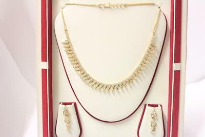 916/22ct sparkling indian gold necklace set with matching earrings *Boxed*