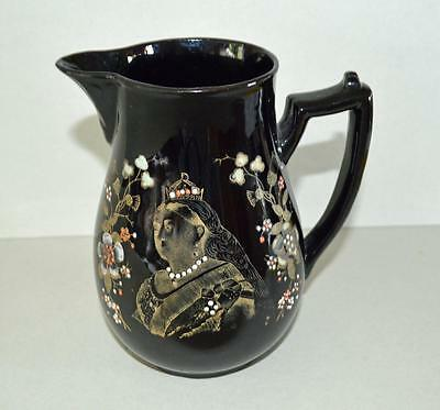 Old Ceramic Jug In Black For Queen Victoria's Diamond Jubilee 1897.Stunning.