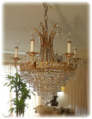 Vintage Large Brass & Crystal French Dore Chandelier Bohemian Czech Crystals