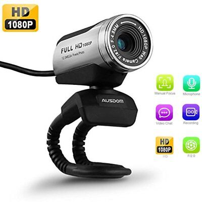 USB Webcam 1080P, AUSDOM 12.0M HD Camera Web Cam with Built-in Microphone for PC
