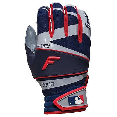 Franklin Freeflex Pro Series Adult Batting Gloves Gray/Navy/Red pair