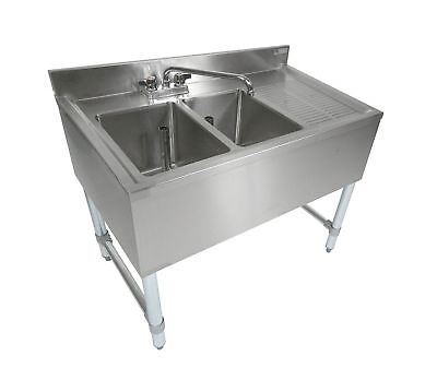 """John Boos EUB2S36-1RD Stainless Steel Bar Sink 2 Compartments 36"""" Length x 21..."""