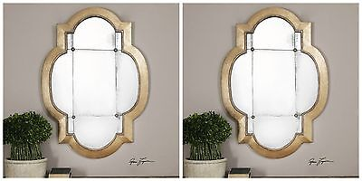 """Two New Large 41"""" Aged Gold Leaf Antiqued Mirrors Vintage Modern Wall Mirror Art"""