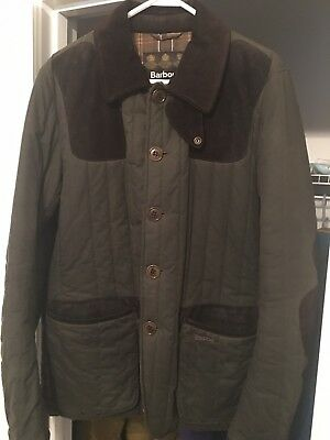 Barbour Men's Olive Green Waxed Cotton Quilted Sporting Jacket with Suede - Larg