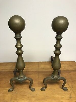 ANTIQUE/VINTAGE Set Of  BRASS/CAST IRON Fireplace Andirons Fire Dogs CANNONBALLS