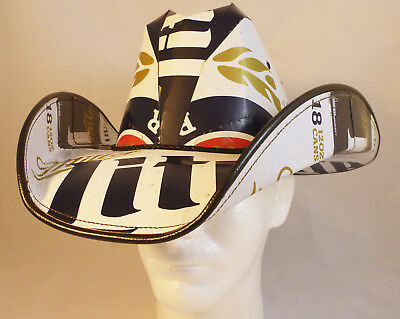 Beer Box Cowboy Hat Made from recycled Miller Lite boxes NASCAR Stetson Party