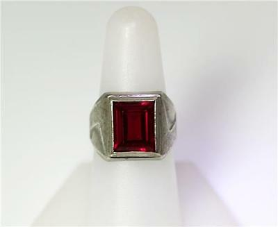 Vintage Sterling Silver Synthetic Ruby Ring Size 7.5 – 8515