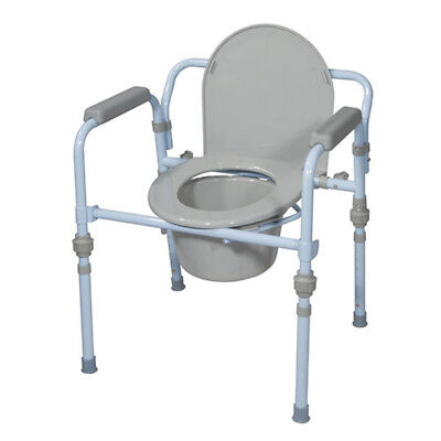 Drive Folding Bedside Commode with Bucket and Splash Guard, Blue Powder