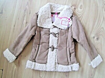 Girls Camel Faux Shearling Suede Look Sheepskin Lined Coat Jacket 4-5-6-7 Years