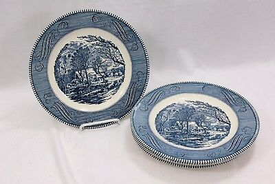 """Currier and Ives Old Mill Dinner Plates 10"""" Set of 4"""