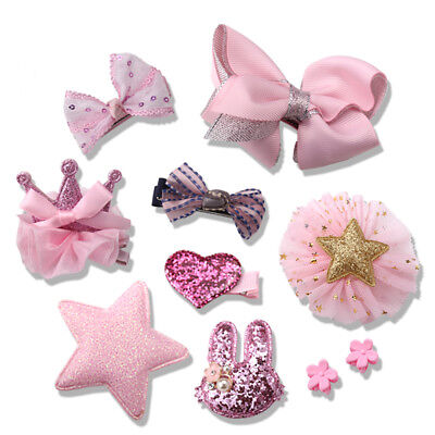 10Pcs/set Baby Girl Hairclip Bow Crown Barrettes Party Kids Hairpins Headwear
