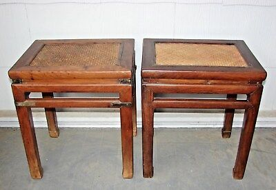 RARE SET OF 2 18th CENTURY CANED PRIMITIVE WOVEN CHINESE WOOD STOOLS TABLE BENCH