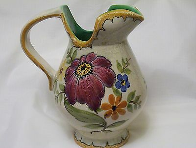 PZH Gouda Creamer Pitcher hand painted BERTINO floral decor Zuid Holland 1950s