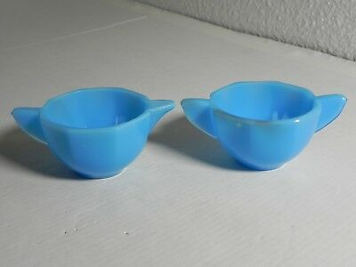AKRO AGATE American Glass Blue Opaline Childs Cream Sugar Set Both Signed EXC!