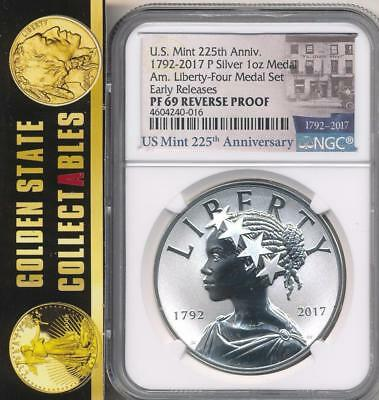 """2017 W Liberty 225th Ann Medal NGC PF69 Rev Proof Early Releases """"MINT"""" Label"""