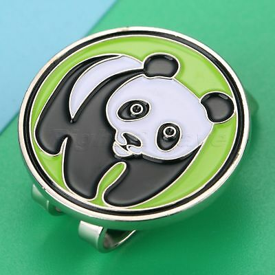 1Pcs Metal Panda Design Golf Hat Clip Strong Magnetic Ball Marker Green Novelty