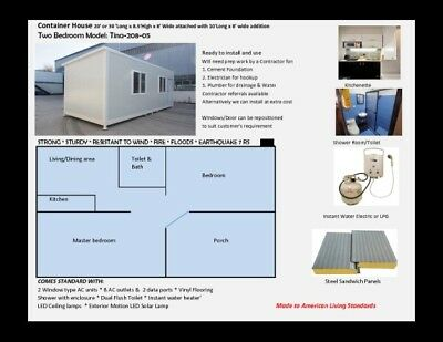 Container Home 2-Bedroom  With 2-Gas Stove Kitchenette/shower/toilet