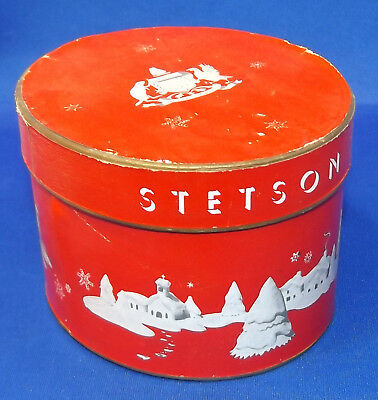 vtg Miniature STETSON Hat Box Winter Christmas Scene Graphics Tiny Cowboy Hatbox