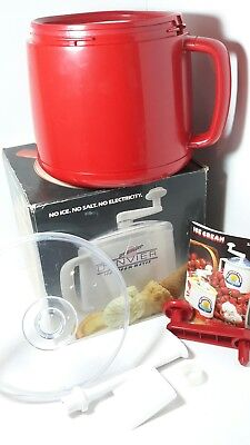 Donvier Ice Cream Maker, with instructions and  Recipe, Red