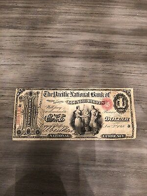 1868 The Pacific National Bank Of Council Bluffs $1 Bill National Currency Iowa