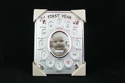 Malden Baby's First Year Silver Frame Picture Collage 13 Openings BRAND NEW
