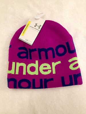 Under Armour Youth Reversible Beanie Purple And Line Green NWT NEW